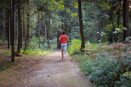 Back view of a Caucasian man in sportswear running along a forest trail