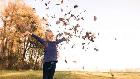 Wide shot of a smiling preschool girl, standing at the edge of the forest, holding a pile of dry leaves in hands, throwing it in the air 版權商用圖片