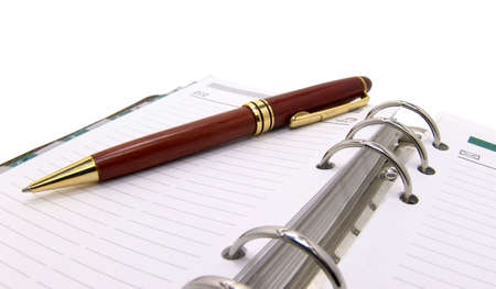 pen and organizer on a white background