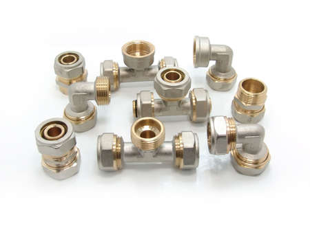 Plumbing Fittings on a white background                     Stock Photo