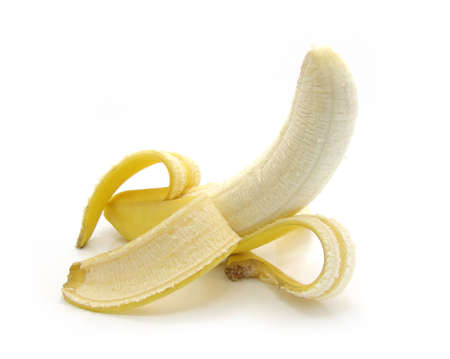 the ripe banana on a white background