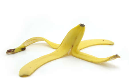 peel from a banana on a white background              Stock Photo