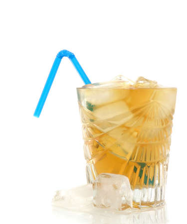 quench: Ice tea in a crystal glass with flexible straw. white background.