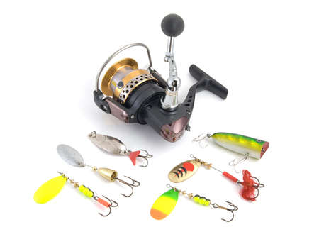 Set of fishing tackle on a white background photo