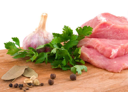 raw meat and spice on a white background Stock Photo
