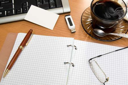 Kind on wooden office desktop. Stock Photo