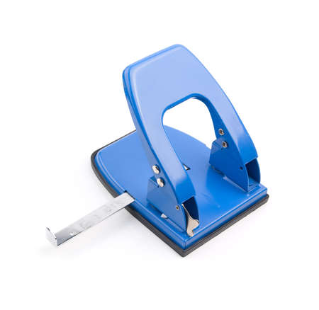 blue office hole puncher on a white background Stock Photo