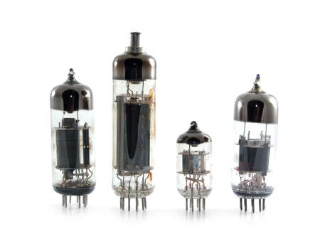triode: Vacuum tubes on white background Stock Photo
