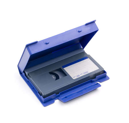 video tape with empty label in blue case on a white background Stock Photo