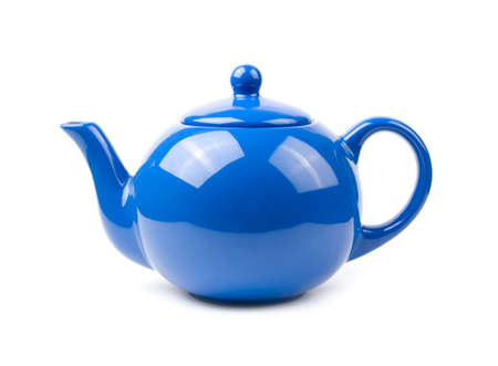 objects: A bright blue ceramic standard design teapot isolated on white