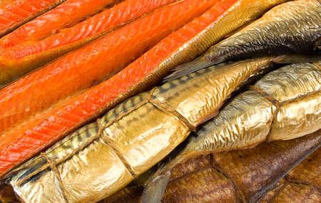 Set of smoked fish. Fish background