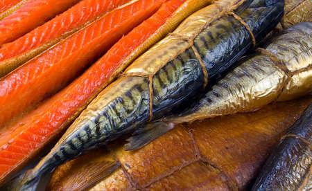 fish store: Set of smoked fish. Fish background.