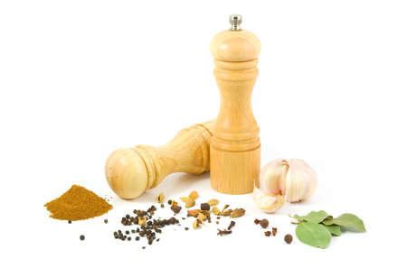 Wooden salt shaker and pepper grinder and set of spices on a white background.