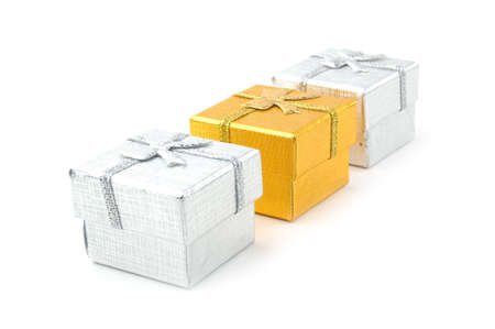 three wishes: three gift boxes on a white background Stock Photo