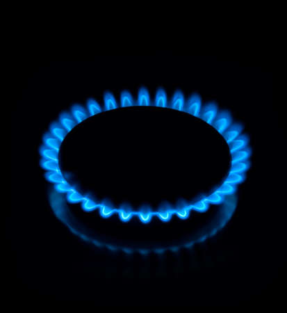 Gas flame on a black background