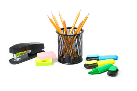 Office supplies on white background. photo