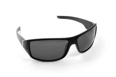 Modern black sunglasses, isolated on white background