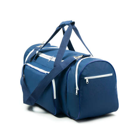 duffle: Blue travel bag on a white background