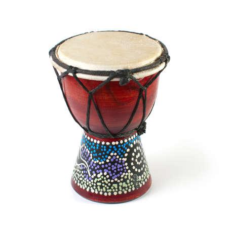 drums: Djembe africano sobre un fondo blanco Foto de archivo