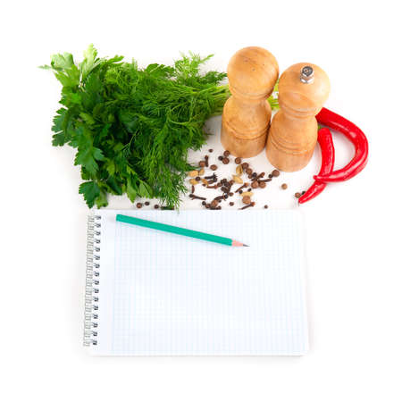 Notebook with recipes and shopping list in the kitchen Stock Photo - 12899902