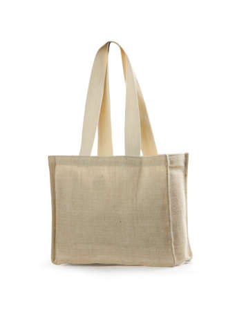 canvas beach bag on a white background  Stock Photo