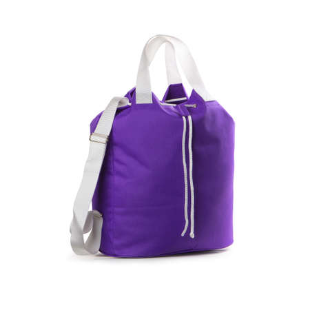 Violet sport bag on a white background  Stock Photo