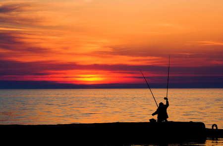 Avond visserij Stockfoto