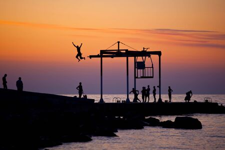People on the beach on sunset Stock Photo - 8197503