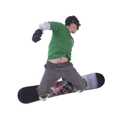 Jumping snowboarder isolated on white background Stock Photo - 9100331