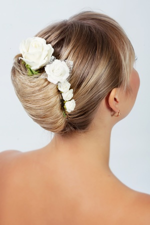 Bride hairstyle photo in studio