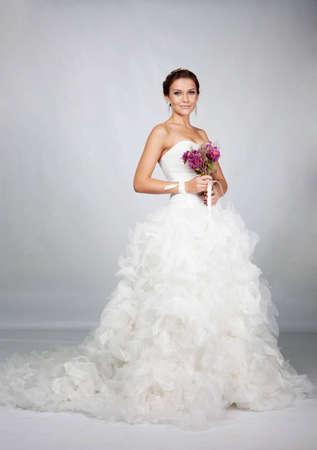 Brunet bride portrait in studio Stock Photo - 11568386