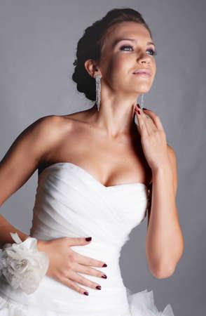 Brunet bride portrait in studio Stock Photo - 11568549