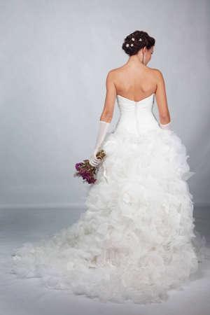 Brunet bruid foto in de studio Stockfoto