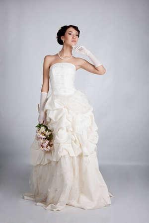 brunette bride portrait in studio