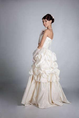 brunette bride portrait in studio photo
