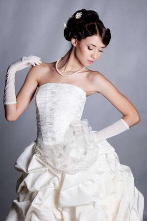 brunette bride portrait in studio Stock Photo - 11568648