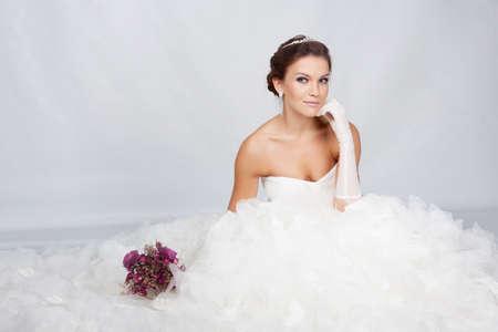 Brunet bride portrait in studio