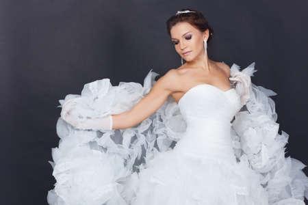 Brunet bride portrait in studio Banco de Imagens - 11781639