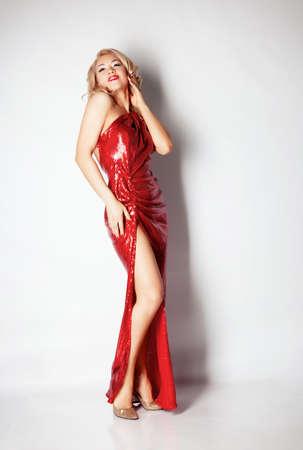 Blond woman portrait in studio photo