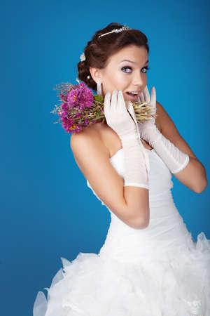 Brunette hair bride portrait Stock Photo - 12326258