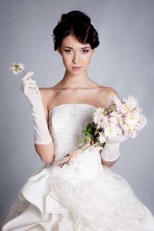 Brunette hair bride portrait