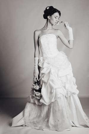 Brunette hair bride portrait photo