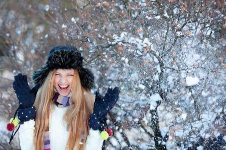 Girl in winter park photo