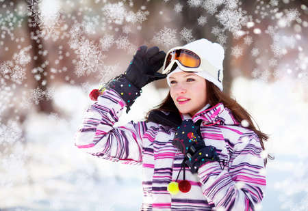 Girl in winter park Stock Photo - 12326259