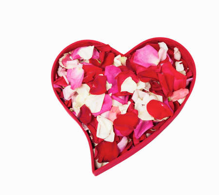 Heart form box with rose petals Stock Photo - 12319875