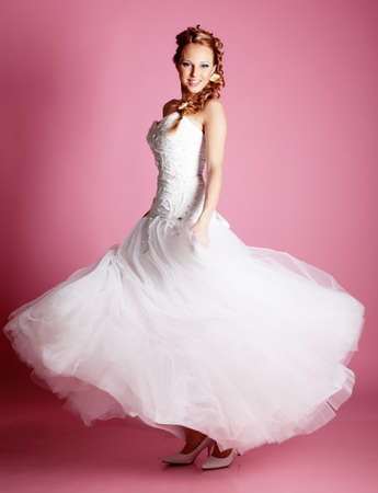 Beautiful blond bride photo in studio photo