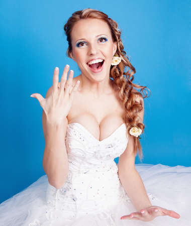 Beautiful blond bride photo in studio photo