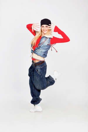 Beautiful blond hair girl dancing hiphop Stock Photo