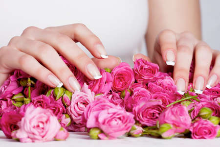 woman hands with manicure on the rose flowers