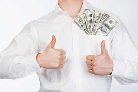 Man holding dollars in hand isolared on white Stock Photo - 13195395